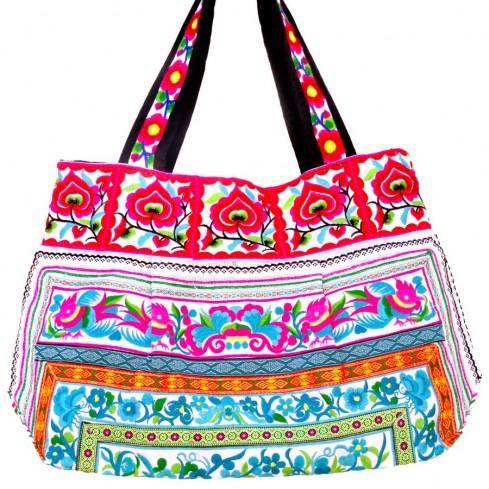 Grand sac ethnique fond soufflet broderies Rosalie - BAGS - Boutique Nirvana