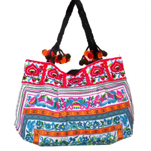 Grand sac ethnique fond soufflet broderies Rosalie - BAGS - Boutique Nirvana