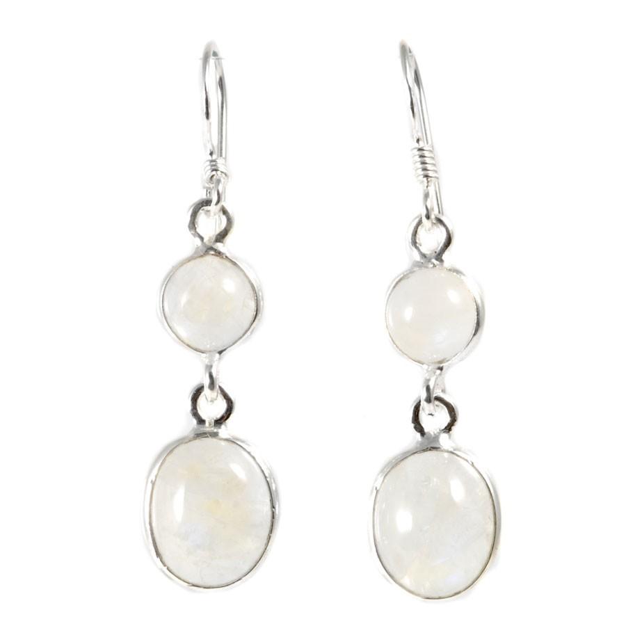 Boucle d'oreilles pendantes avec pierre ronde et ovale - Silver Jewellery  - Boutique Nirvana