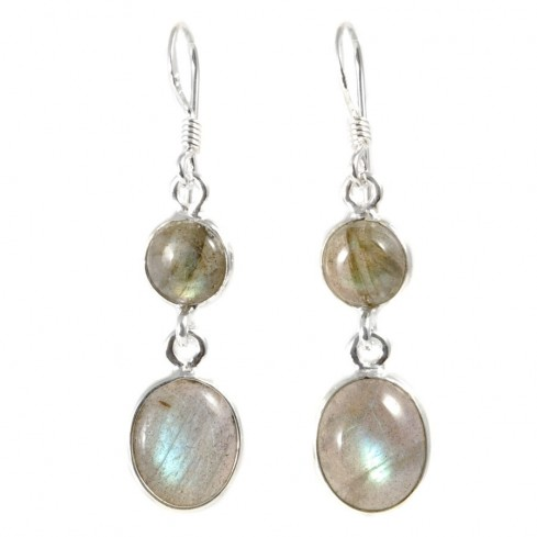Boucle d'oreilles pendantes avec pierre ronde et ovale
