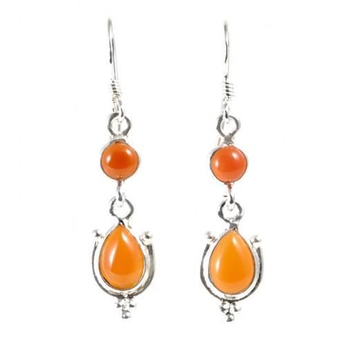 Boucle d'oreilles pendantes avec pierre ronde et goutte - BIJOUX ARGENT - Boutique Nirvana