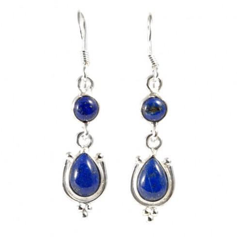 Boucle d'oreilles pendantes avec pierre ronde et goutte - PIERRES FINES - Boutique Nirvana