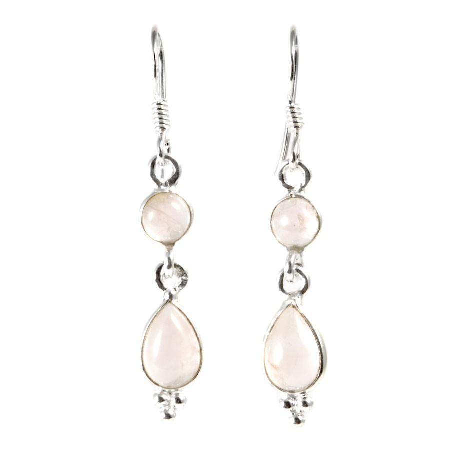Boucle d'oreilles pendantes avec pierre ronde et goutte simple - Silver Jewellery - Boutique Nirvana