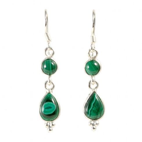 Boucle d'oreilles pendantes avec pierre ronde et goutte simple - BIJOUX ARGENT - Boutique Nirvana