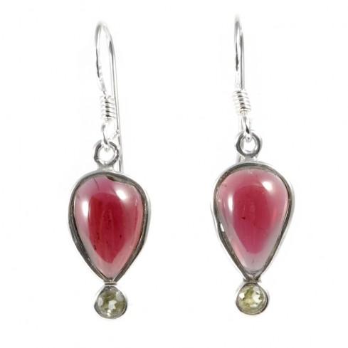 Boucles d'oreilles pendantes doubles pierres fines