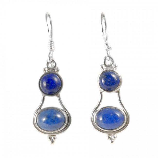 Boucle d'oreilles pendantes avec deux pierres - Silver Jewellery  - Boutique Nirvana