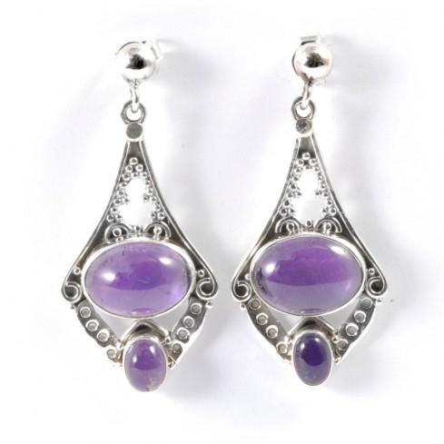 boucles d'oreilles Adrika pierre fine - Silver Jewellery  - Boutique Nirvana