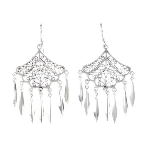 Boucles d'oreilles larges filigrane et pampilles - Silver Jewellery  - Boutique Nirvana
