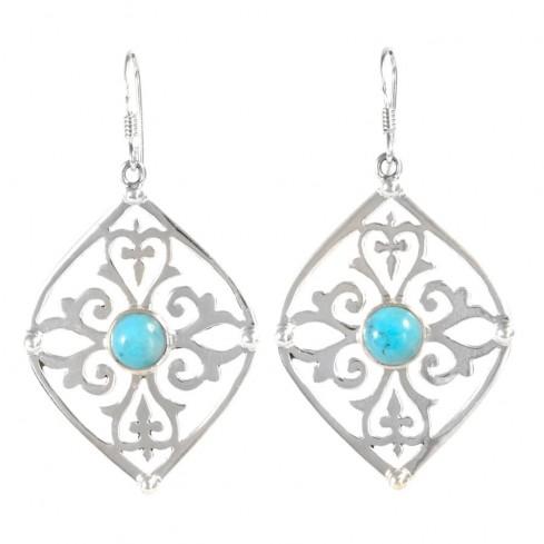 Boucles d'oreilles argent volutes pierre fine - BIJOUX ARGENT - Boutique Nirvana