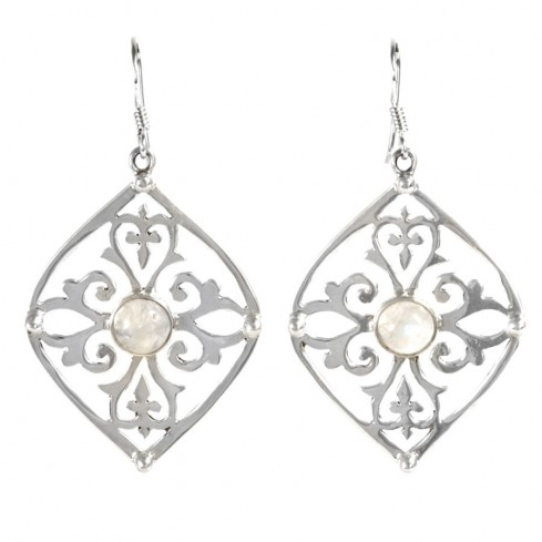 Boucles d'oreilles argent volutes pierre fine - Silver Jewellery  - Boutique Nirvana