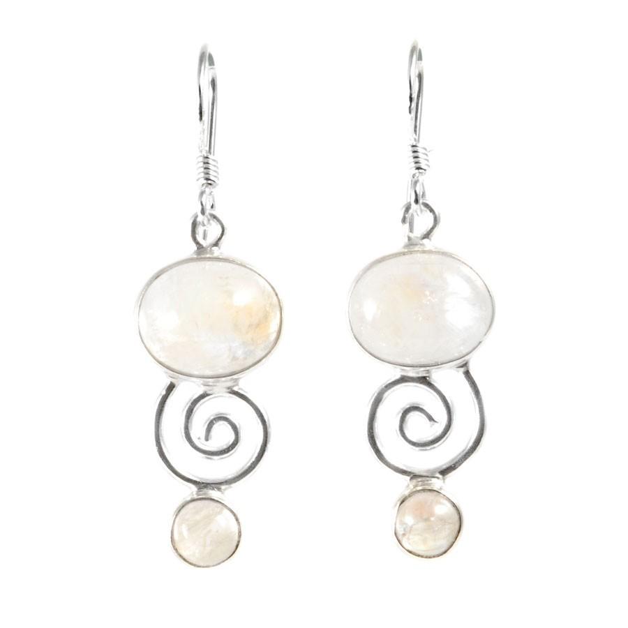 Boucles d'oreilles spirale pierres fines - Silver Jewellery  - Boutique Nirvana