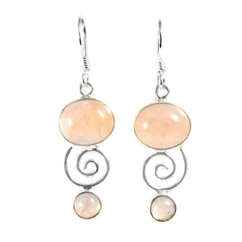 Boucles d'oreilles spirale pierres fines - BIJOUX ARGENT - Boutique Nirvana