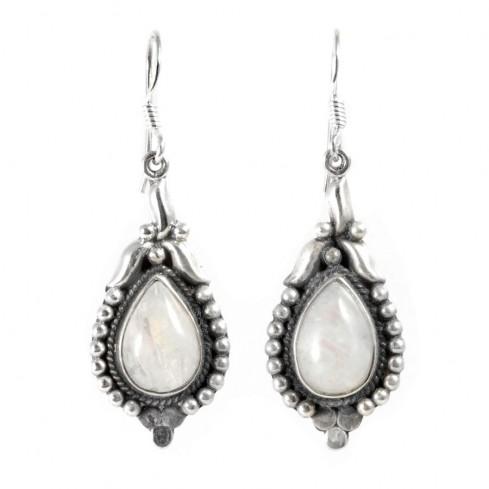 Boucles d'oreilles argent Delhi - SILVER & STONE LOOPS - Boutique Nirvana