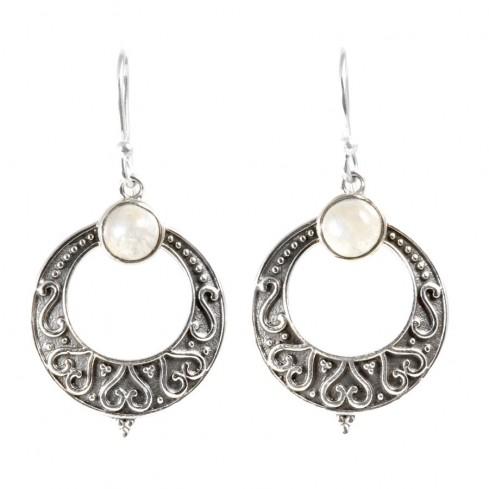 Boucle d'oreilles rondes pierre fine - Silver Jewellery  - Boutique Nirvana
