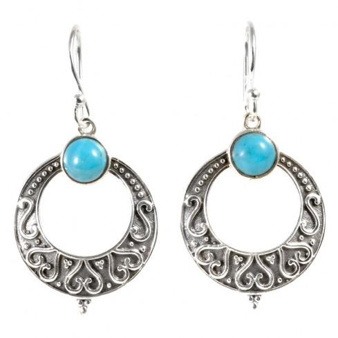 Boucle d'oreilles rondes pierre fine - BIJOUX ARGENT - Boutique Nirvana