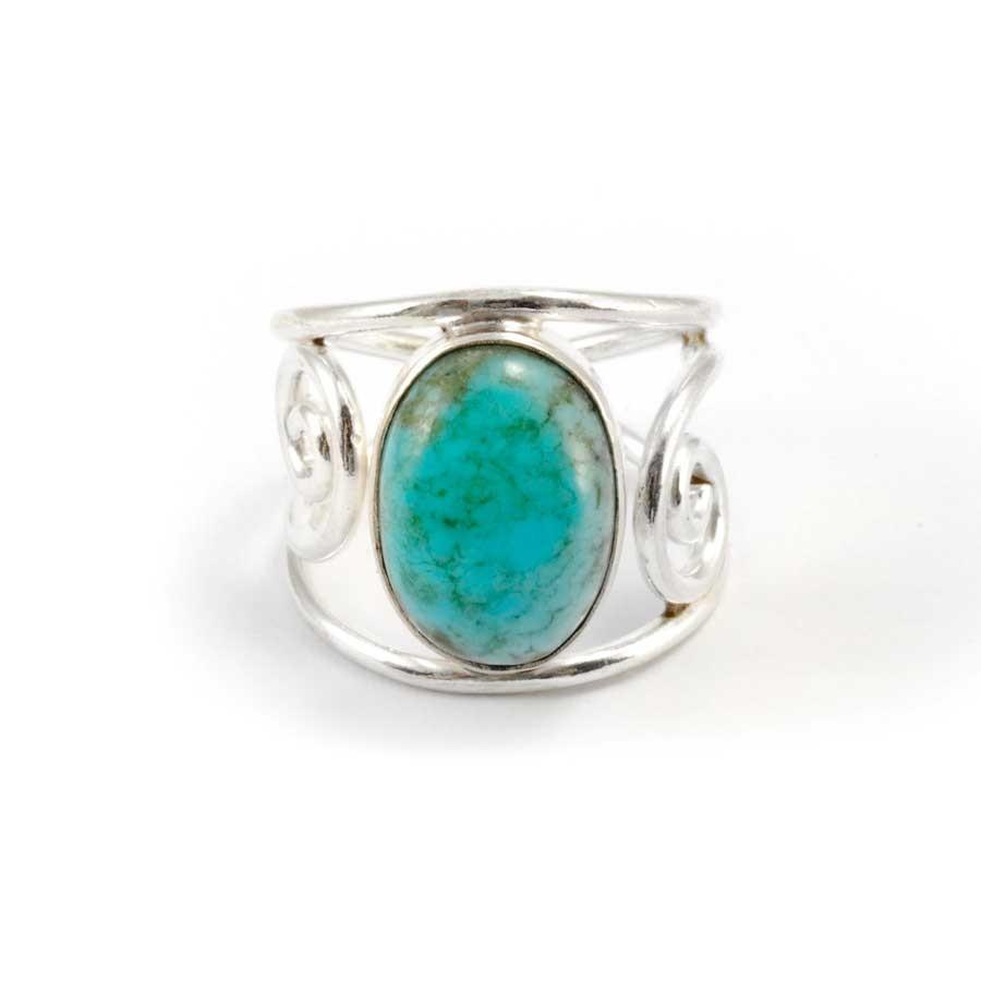 Bague argent ajourée pierre ovale - Silver Jewellery  - Boutique Nirvana
