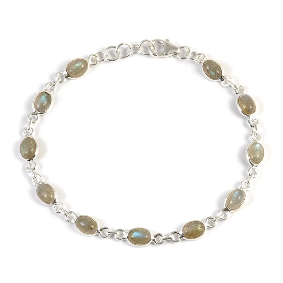 Bracelet argent pierres ovales