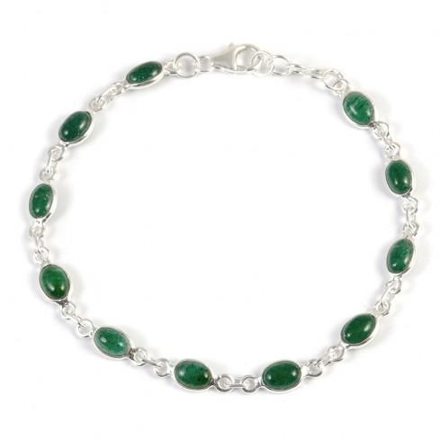 Silver Chain Bracelet with Oval Stones - Silver Bracelets - Boutique Nirvana
