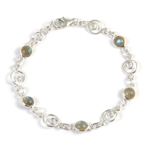 Silver Bracelet with Spirals and Stones - Silver Bracelets - Boutique Nirvana