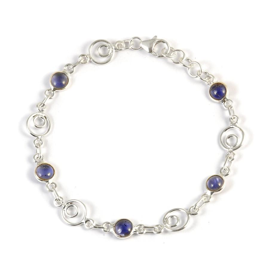 Bracelet argent spirales et pierres rondes