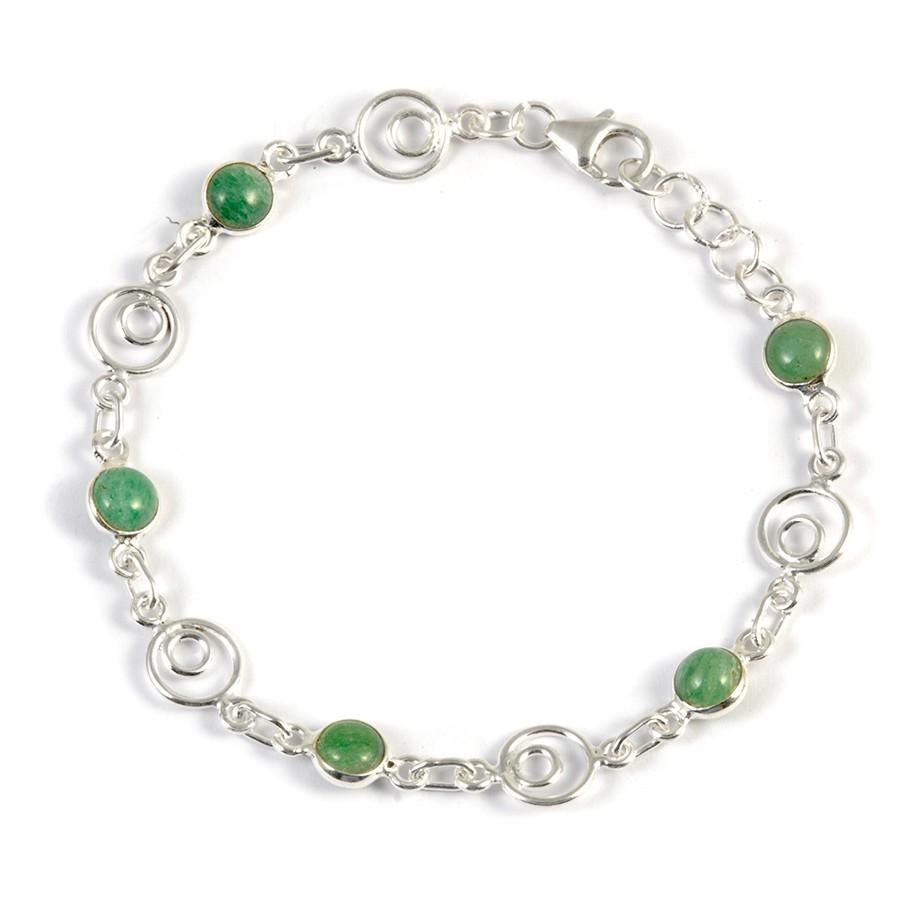 Bracelet argent spirales et pierres rondes - Pierres naturelles - Boutique Nirvana