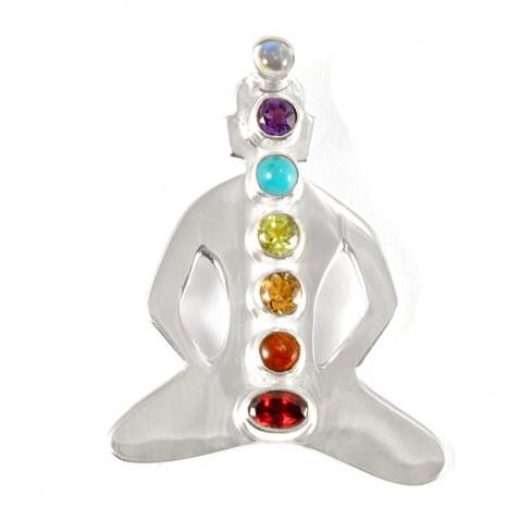 Pendentif Bouddha 7 chakras arent et pierres fines - SILVER PENDANT - Boutique Nirvana