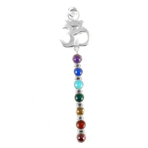 Pendentif OM argent avec les 7 chakras en pierres naturelles - Silver Jewellery  - Boutique Nirvana