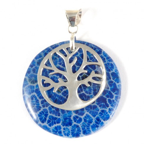 Pendentif pierre avec arbre de vie - PENDENTIFS ARGENT - Boutique Nirvana