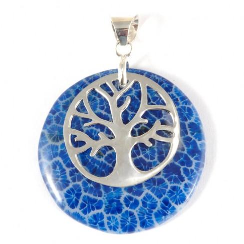 Pendentif pierre avec arbre de vie