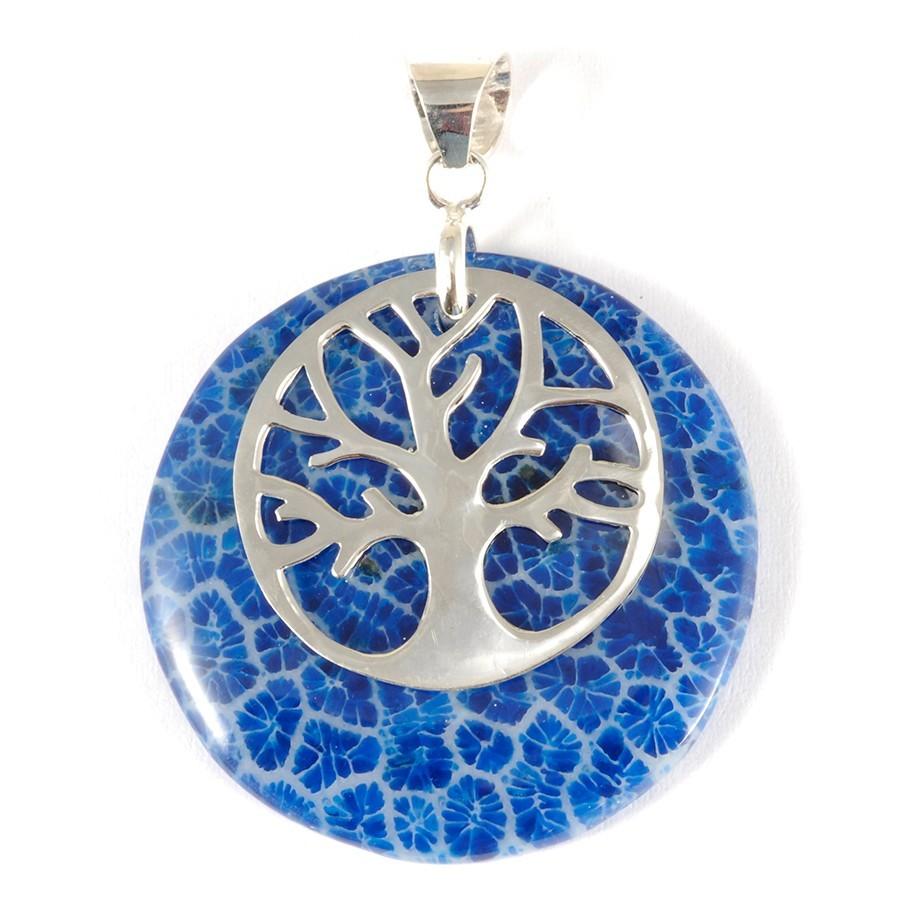 Pendentif pierre avec arbre de vie - SILVER PENDANT - Boutique Nirvana