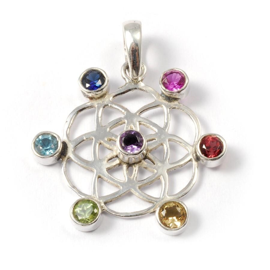 Chakras Charm Pendant - Silver Jewellery  - Boutique Nirvana