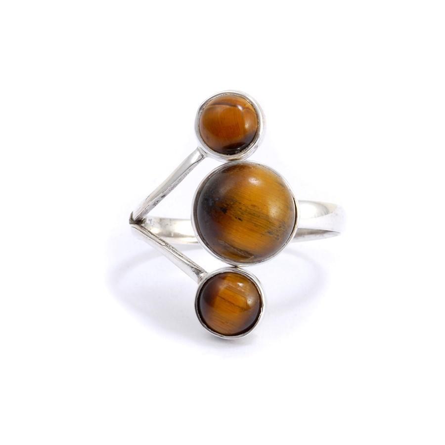 Bagie réglable en argent 3 pierres - Silver Jewellery  - Boutique Nirvana