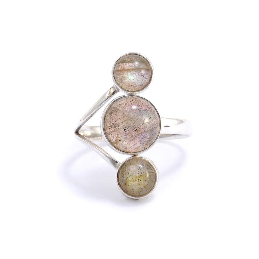 Bague réglable en argent 3 pierres - BIJOUX ARGENT - Boutique Nirvana