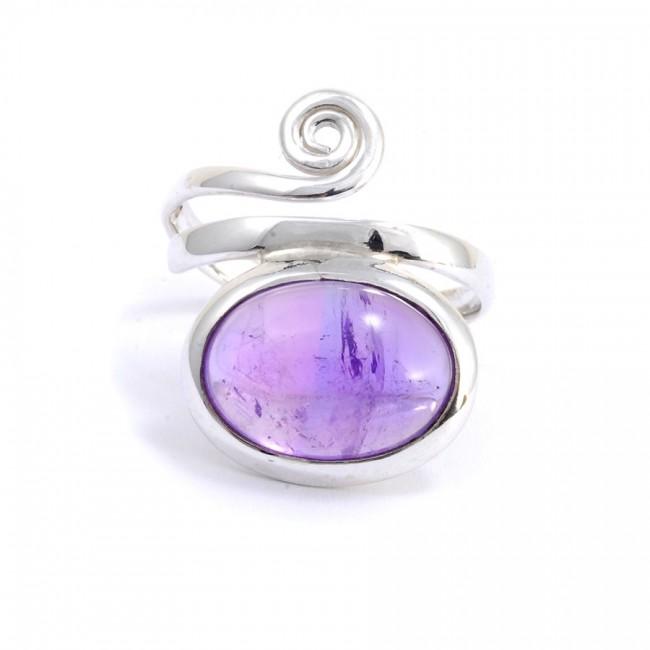Bague réglable pierre ovale et spirale argent - Silver Jewellery  - Boutique Nirvana