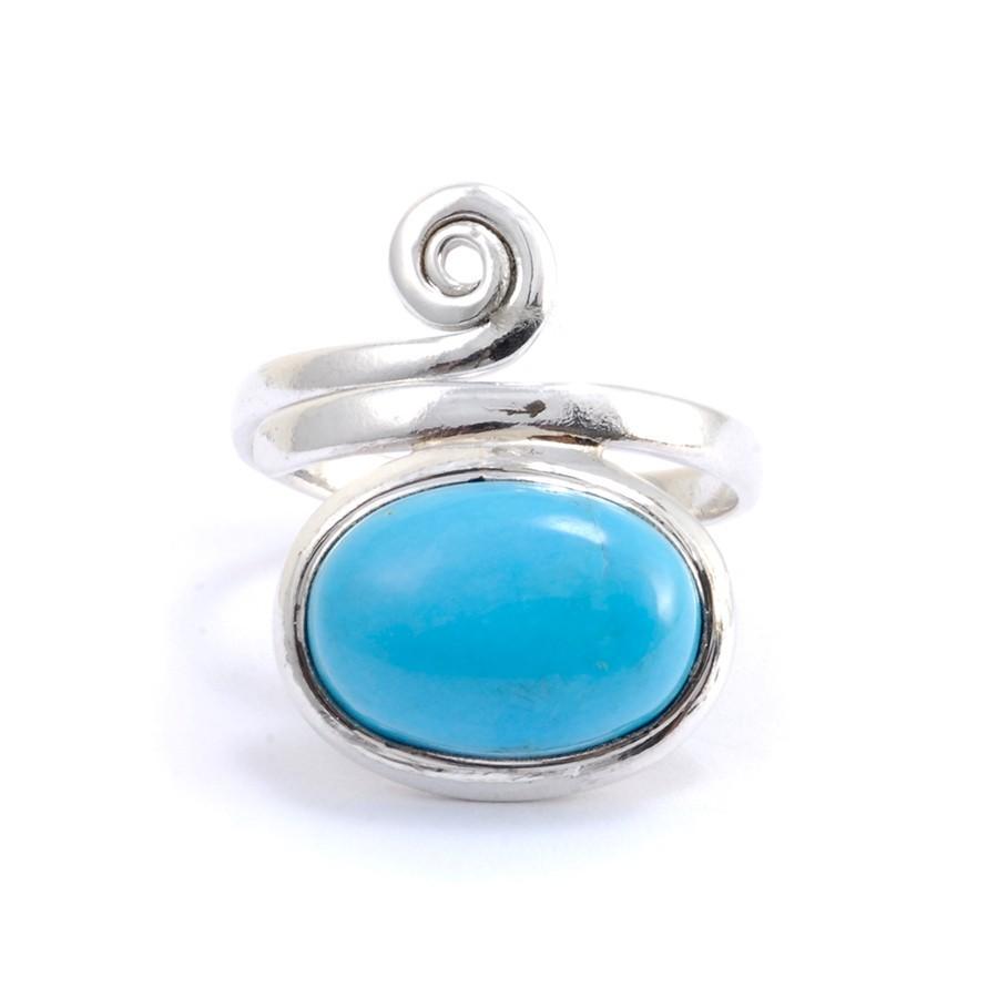 Bague réglable pierre ovale et spirale argent - BIJOUX ARGENT - Boutique Nirvana