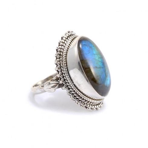 Bague argent avec grosse pierre Satya - Silver Rings - Boutique Nirvana