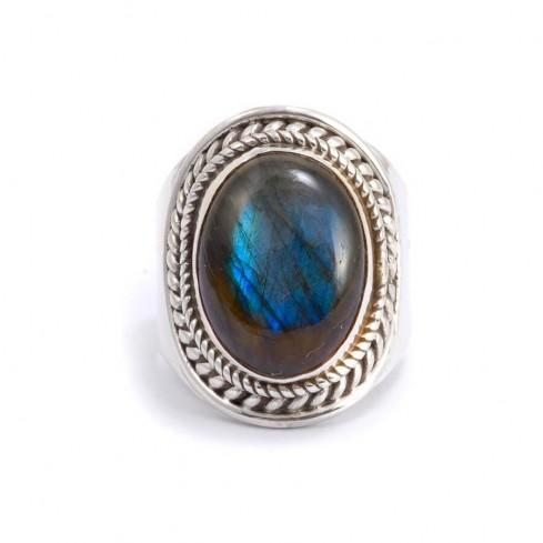 Bague argent pierre ovale Santosha - BAGUES ARGENT - Boutique Nirvana