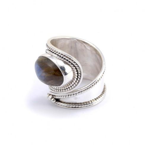 Bague argent large réglable pierre ovale