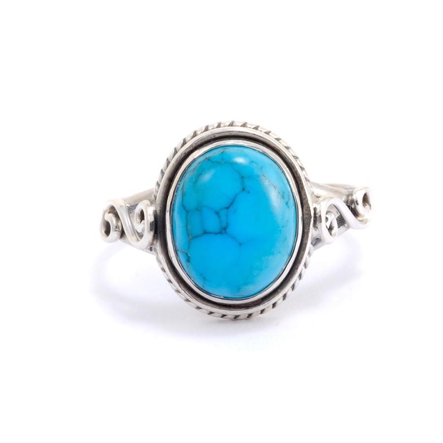 Bague fine en argent pierre ovale Adhi - Silver Rings - Boutique Nirvana