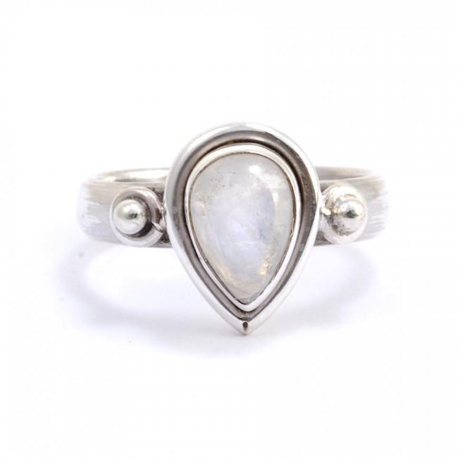 Bague argent avec pierre en forme de goutte - Silver Rings - Boutique Nirvana
