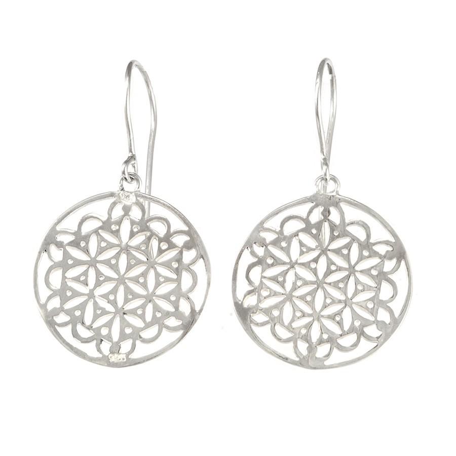 Boucles argent rondes fleur de vie - SILVER EARRINGS - Boutique Nirvana