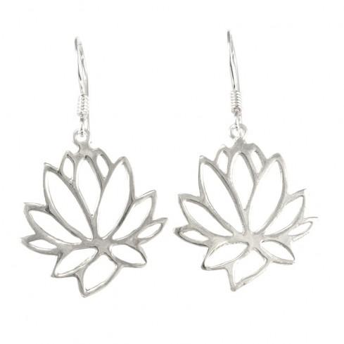 Boucles d'oreilles argent fleur de Lotus - BOUCLES ARGENT - Boutique Nirvana