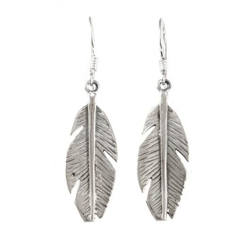 Boucles d'oreilles argent plumes - BOUCLES ARGENT - Boutique Nirvana