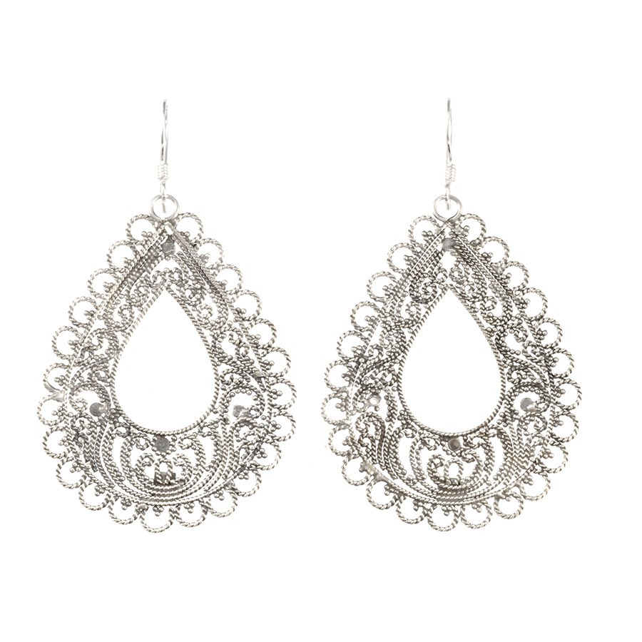 Boucles argent filigrane goutte - SILVER EARRINGS - Boutique Nirvana