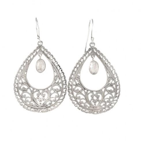 Boucles d'oreilles filigrane avec pierre de lune - SILVER EARRINGS - Boutique Nirvana