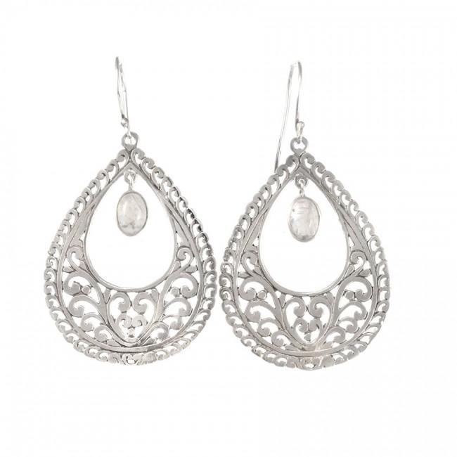 Boucles d'oreilles filigrane avec pierre de lune - BOUCLES ARGENT - Boutique Nirvana