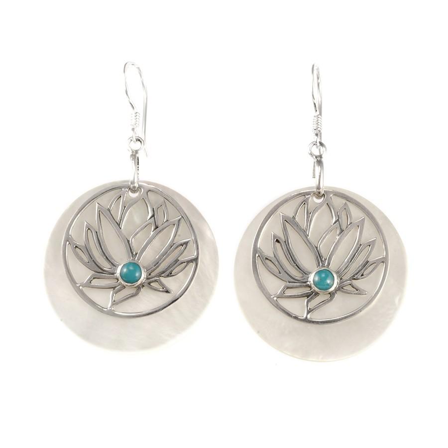 Boucles d'oreilles nacre avec lotus en argent - NACRE & CORAIL - Boutique Nirvana