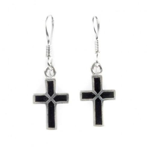Boucles argent petites croix onyx