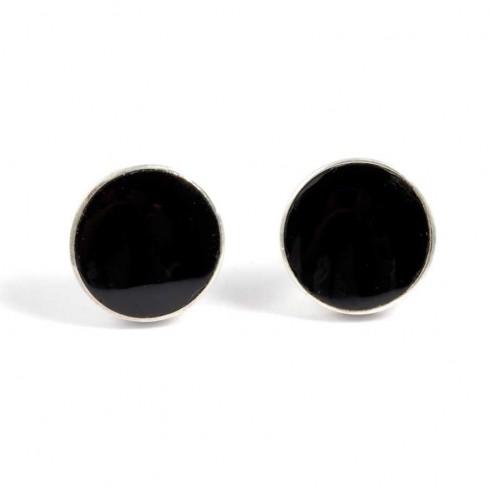 Puces d'oreilles argent et pierre noire