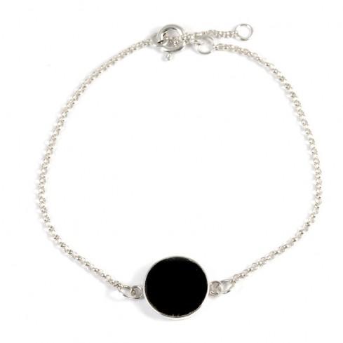 Bracelet argent chaine et motif rond pierre - Silver Bracelets - Boutique Nirvana